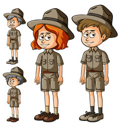 Different characters in safari outfit vector