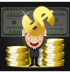 Happy man carrying stack of big golden coins vector