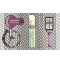 Images hair hairspray a comb for hair care vector