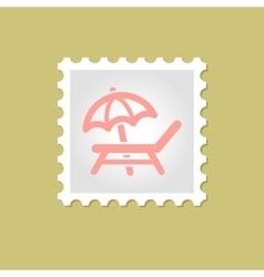 Lounger beach sunbed chair stamp vector