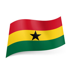 national flag of ghana red yellow and green vector image
