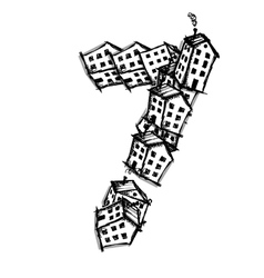 Number seven made from houses alphabet vector