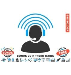 Operator radio signal flat icon with 2017 bonus vector