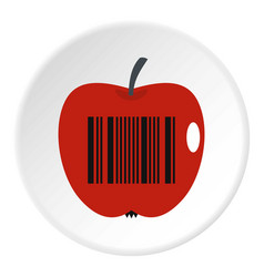 Red apple with barcode icon circle vector