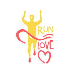 run love logo symbol colorful hand drawn vector image