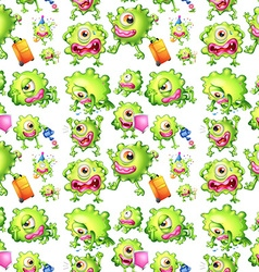 Seamless green monster in different actions vector image