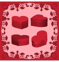 Set boxes Valentine 3D vector image