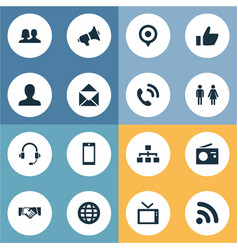 set of simple network icons vector image vector image