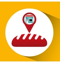 Smartphone bakery store app location vector