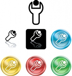 spanner and nut icons vector image