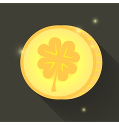 St patrick day gold coin icon vector