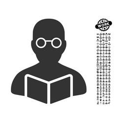 Student icon with professional bonus vector