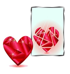 Stylized heart is reflected in the mirror vector
