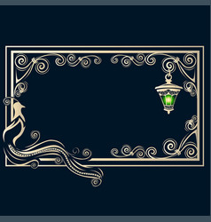 vintage frame with a bird vector image