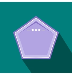 Violet badge with three stars icon flat style vector