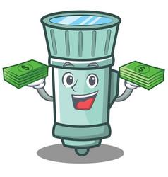 With money flashlight cartoon character style vector
