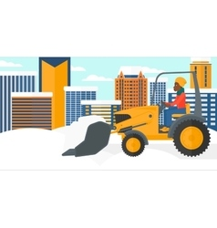 Woman plowing snow vector