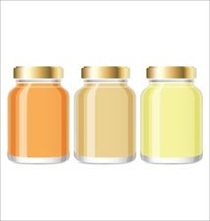 Glass jars with honey mockup vector