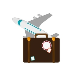 Suitcase and airplane icon vector
