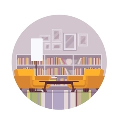Retro interior with bookcase lamp table vector
