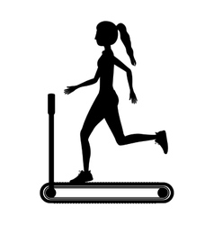 silhouette with woman in treadmill vector image