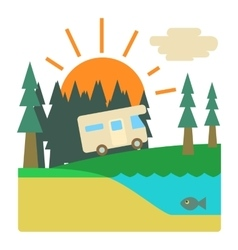 Trip by camper in forest concept flat style vector image