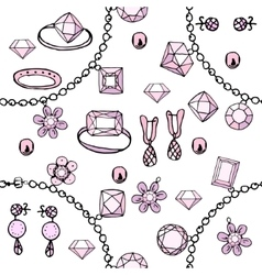 Seamless pattern with bracelets beads charms vector