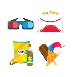 Fast food and film cinema icons vector