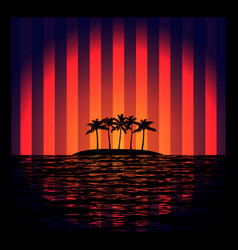 Tropical island with neon strips vector