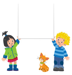 Small boy and girl holding banner vector