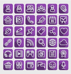 Flat icons social media purple set vector