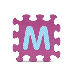 Letter m written with alphabet puzzle vector