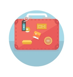 Suitcase with travel stickers vector