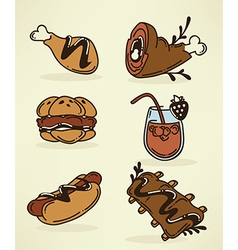 bbq food collection vector image