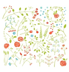 Floral doodle field flowers and plants decoration vector