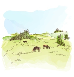 Watercolor landscape with cows vector