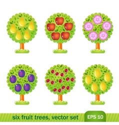 Six fruit trees vector