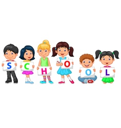 Cartoon children holding text vector