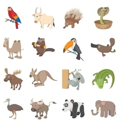 Animal icons set cartoon style vector