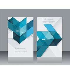 brochure template design witn blue geometrical vector image