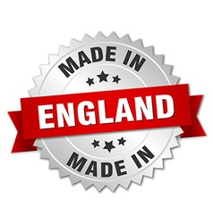 Made in england silver badge with red ribbon vector