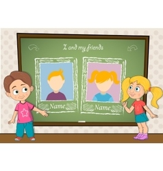 Yearbook with boy  girl and chalkboard for two vector