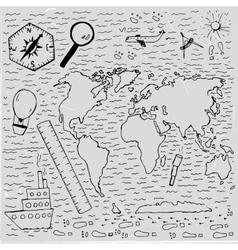 World Hand drawn map vector image