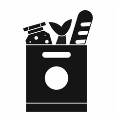 Grocery bag with food icon simple style vector