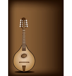 Antique mandolin on dark brown background vector