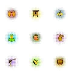 Apiary icons set pop-art style vector