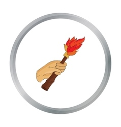 Burning torch in the hand icon in cartoon style vector