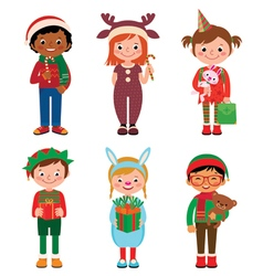 Children in costumes christmas vector