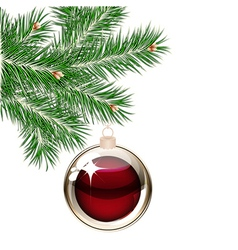 Christmas tree and transparent balls vector image vector image