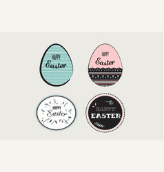 Easter elements with decorated egg and floral vector